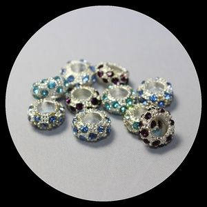 Jewelry - Crystal Beads Charms 925 Silver Bracelet Lot Space